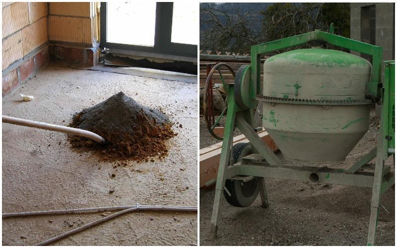 смешивание цементного раствора