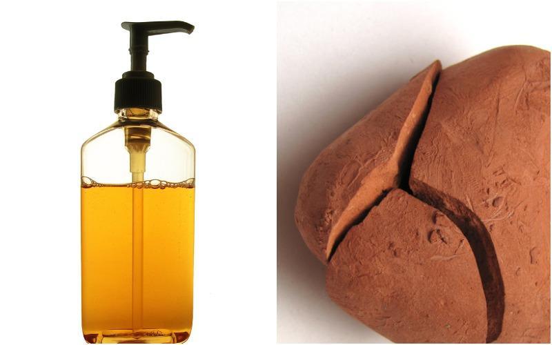 жидкое мыло и глина