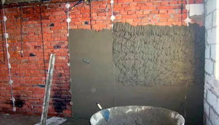нанесение цементной штукатурки
