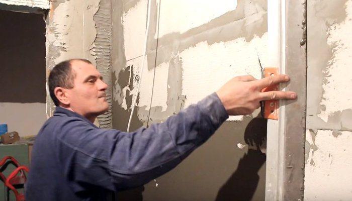 Штукатурка стены из пеноблока