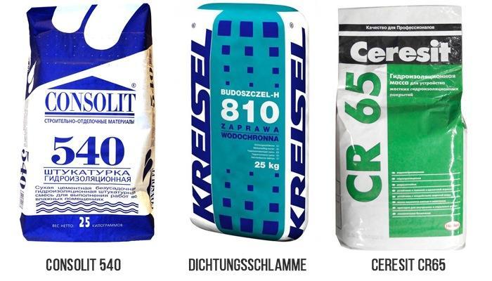 Смеси Ceresit CR65, Dichtungsschlamme и Consolit 540