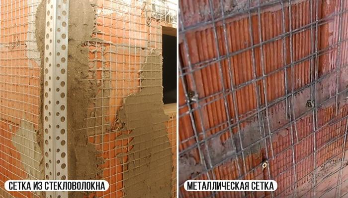 армирующие сетки на кирпичной стене