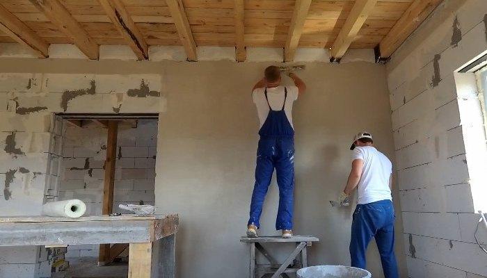 штукатурка стен из газобетона внутри дома