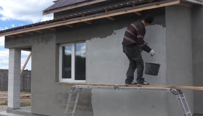 Перетирка фасадной штукатурки