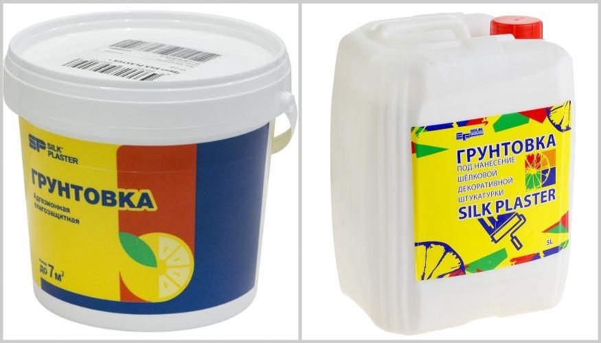 грунтовка под жидкие обои в разной упаковке