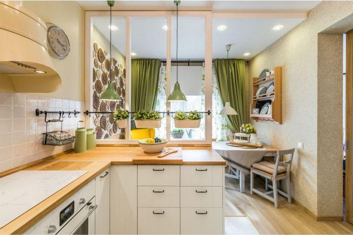 светлые оттенки жидких обоев на кухне
