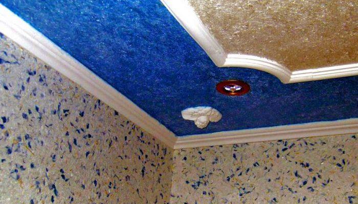 жидкие обои нанесенные на потолок 2