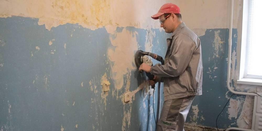 очистка стены от краски УШМ