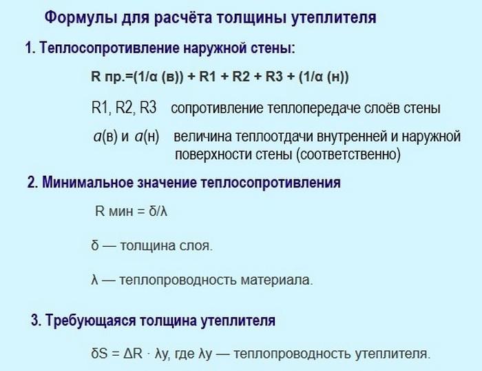 формулы для расчета толщины утеплителя